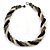 Black/ Grey/ Transparent Glass Bead Twitsted Necklace - 50cm L - view 5