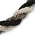 Black/ Grey/ Transparent Glass Bead Twitsted Necklace - 50cm L - view 3