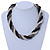 Black/ Grey/ Transparent Glass Bead Twitsted Necklace - 50cm L - view 2