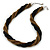 Black/ Bronze Glass Bead Twisted Necklace In Silver Tone - 57cm L/ 4cm Ext