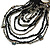 Black/ Metallic Silver Glass Bead Tassel Necklace with Button and Loop Closure - 44cm L (Necklace)/ 17cm L (Tassel) - view 5