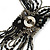 Black/ Metallic Silver Glass Bead Tassel Necklace with Button and Loop Closure - 44cm L (Necklace)/ 17cm L (Tassel) - view 9