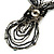 Black/ Metallic Silver Glass Bead Tassel Necklace with Button and Loop Closure - 44cm L (Necklace)/ 17cm L (Tassel) - view 3