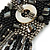 Black/ Metallic Silver Glass Bead Tassel Necklace with Button and Loop Closure - 44cm L (Necklace)/ 17cm L (Tassel) - view 6