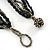 Black/ Metallic Silver Glass Bead Tassel Necklace with Button and Loop Closure - 44cm L (Necklace)/ 17cm L (Tassel) - view 4