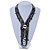 Black/ Metallic Silver Glass Bead Tassel Necklace with Button and Loop Closure - 44cm L (Necklace)/ 17cm L (Tassel) - view 2