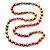 Long Multicoloured Round Bead Necklace - 114cm L