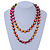 Long Multicoloured Round Bead Necklace - 114cm L - view 2