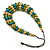 Olive/ Teal/ Beige Wooden Bead Black Cord Necklace - 70cm L - view 4