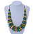 Olive/ Teal/ Beige Wooden Bead Black Cord Necklace - 70cm L - view 2
