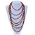 Long Multistrand, Layered Multicoloured Wood Bead Necklace with Red Suede Cord - Adjustable - 110cm/ 140cm L - view 2