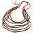 Long Multistrand, Layered Multicoloured Wood Bead Necklace with Red Suede Cord - Adjustable - 110cm/ 140cm L