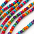 Long Multistrand, Layered Multicoloured Wood Bead Necklace with Red Suede Cord - Adjustable - 110cm/ 140cm L - view 3