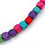 Long Multistrand, Layered Multicoloured Wood Bead Necklace with Red Suede Cord - Adjustable - 110cm/ 140cm L - view 5