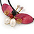 Shell Butterfly and Freshwater Pearl Flower Flex Wire Choker Necklace - Adjustable - view 3