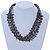 Ethnic Multistrand Metallic Grey, Black Glass Necklace With Wood Hook Closure - 50cm L - view 2