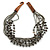 Ethnic Multistrand Metallic Grey, Black Glass Necklace With Wood Hook Closure - 50cm L - view 6