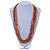 Multistrand Orange/ Metallic Silver Glass Bead Long Necklace - 76cm L - view 2