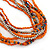 Multistrand Orange/ Metallic Silver Glass Bead Long Necklace - 76cm L - view 5