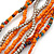 Multistrand Orange/ Metallic Silver Glass Bead Long Necklace - 76cm L - view 3