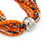 Multistrand Orange/ Metallic Silver Glass Bead Long Necklace - 76cm L - view 4