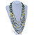 Long Multistrand, Layered Green, Olive Sea Shell Bead Necklace with Suede Cord - Adjustable - 72cm/ 110cm L - view 2