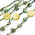 Long Multistrand, Layered Green, Olive Sea Shell Bead Necklace with Suede Cord - Adjustable - 72cm/ 110cm L - view 3