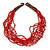 Ethnic Multistrand Carrot Red Glass Necklace With Wood Hook Closure - 50cm L - view 6