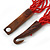 Ethnic Multistrand Carrot Red Glass Necklace With Wood Hook Closure - 50cm L - view 7