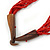 Ethnic Multistrand Carrot Red Glass Necklace With Wood Hook Closure - 50cm L - view 4