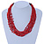 Ethnic Multistrand Carrot Red Glass Necklace With Wood Hook Closure - 50cm L - view 2