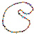 Long Multicoloured Shell Nugget and Glass Crystal Bead Necklace - 110cm L - view 2