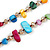 Long Multicoloured Shell Nugget and Glass Crystal Bead Necklace - 110cm L - view 5