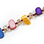 Long Multicoloured Shell Nugget and Glass Crystal Bead Necklace - 110cm L - view 6