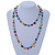 Long Multicoloured Shell Nugget and Glass Crystal Bead Necklace - 110cm L - view 3