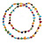 Long Multicoloured Shell Nugget and Glass Crystal Bead Necklace - 110cm L - view 9