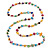 Long Multicoloured Shell Nugget and Glass Crystal Bead Necklace - 110cm L - view 7