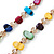Long Multicoloured Shell Nugget and Glass Crystal Bead Necklace - 110cm L - view 8