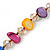 Long Multicoloured Shell Nugget and Glass Crystal Bead Necklace - 110cm L - view 10