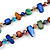 Long Multicoloured Shell Nugget and Glass Crystal Bead Necklace - 120cm L - view 4