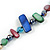 Long Multicoloured Shell Nugget and Glass Crystal Bead Necklace - 120cm L - view 5