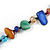 Long Multicoloured Shell Nugget and Glass Crystal Bead Necklace - 120cm L - view 6