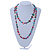 Long Multicoloured Shell Nugget and Glass Crystal Bead Necklace - 120cm L - view 8