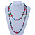 Long Multicoloured Shell Nugget and Glass Crystal Bead Necklace - 120cm L - view 2