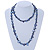 Long Dark Blue Shell Nugget and Glass Crystal Bead Necklace - 110cm L - view 2