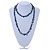 Long Dark Blue Shell Nugget and Glass Crystal Bead Necklace - 110cm L - view 7