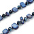 Long Dark Blue Shell Nugget and Glass Crystal Bead Necklace - 110cm L - view 3