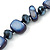 Long Dark Blue Shell Nugget and Glass Crystal Bead Necklace - 110cm L - view 4