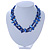 Two Row Blue Shell And Glass Bead Necklace - 44cm L/ 6cm Ext - view 5