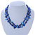 Two Row Blue Shell And Glass Bead Necklace - 44cm L/ 6cm Ext - view 2